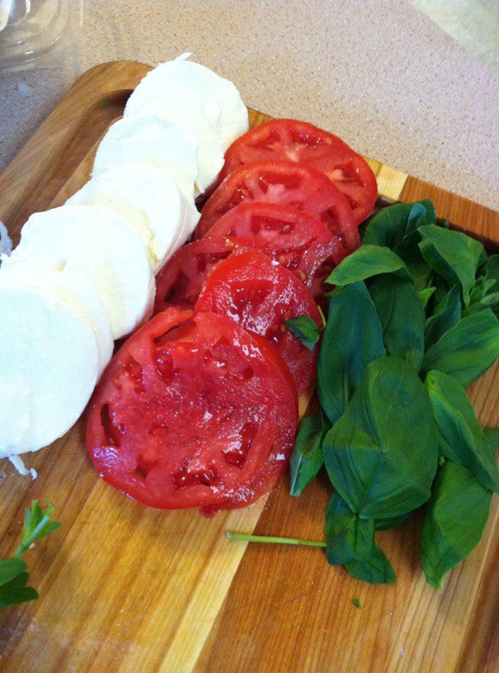 mozz, tomato, basil