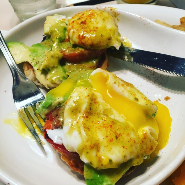 Eggs Benedict with Avacado and Poblano Hollandaise